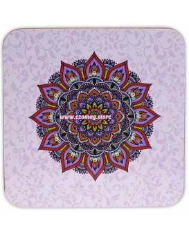 """Поставка за чаши """"Мандала"""" в пурпур - комплект от 6 броя"""